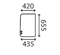 Стекло боковое правое заднее мини экскаватора Imer 25 NX, 35 NX, 30 VX, 30NX
