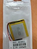 Аккумулятор 364851 для China (Li-ion 3.7В 1000мА·ч), (51*48*4 мм) 2 контакта (провода)