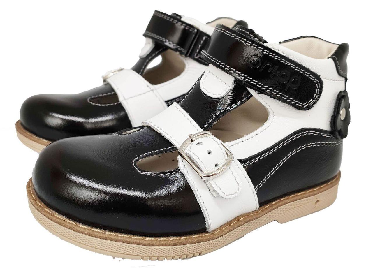 Туфли ортопедические с супинатором Ortop 015BlackL (лакированная кожа), размер 20