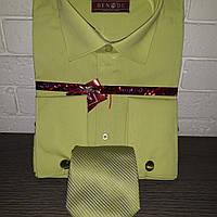 Салатовая мужская рубашка с галстуком под запонку BENDU (размер от 39 до 46)