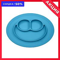 Силиконовая тарелка-коврик с присоской голубая