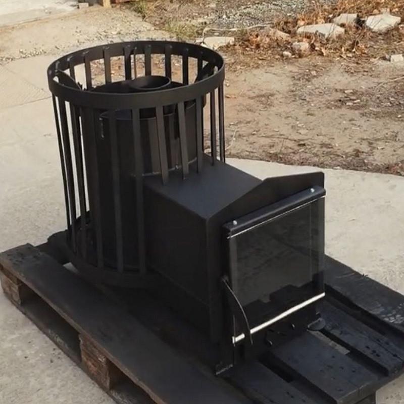 Печь для бани Бочка 15 м³ с выносом и стеклом