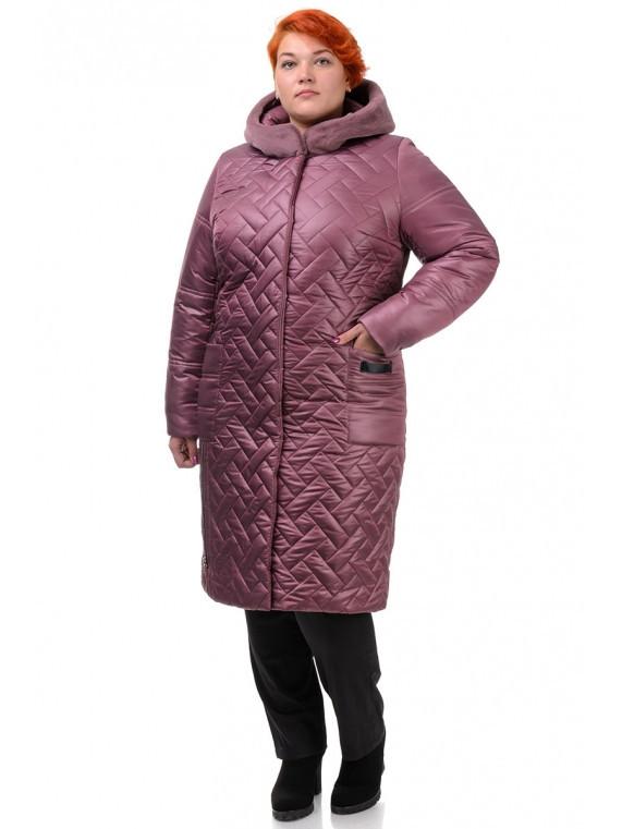 Женское зимнее стеганое пальто с мехом, размеры 52-60