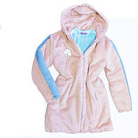 Шуба детская эко-мех кролик розовая на девочку-подростка рост 140-164