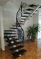 Легкие кованые перила для лестницы. Классические кованые перила с элементами модерна., фото 1