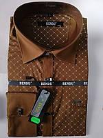 Приталенная коричневая с узором рубашка BENDU (все размеры под заказ)