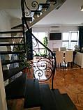 Легкі ковані перила для сходів. Класичні ковані перила з елементами модерну., фото 2