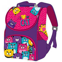 Детский рюкзак Цветные коты школьный для девочки Smile ранец-короб