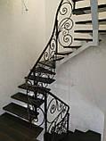Легкі ковані перила для сходів. Класичні ковані перила з елементами модерну., фото 3