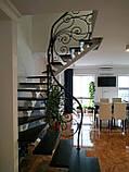 Легкі ковані перила для сходів. Класичні ковані перила з елементами модерну., фото 6
