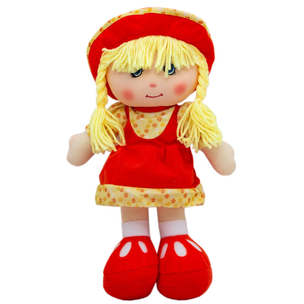 Кукла мягконабивная с вышитым лицом, 36 см, красная (53514-1)
