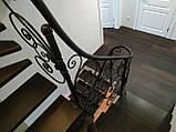 Легкі ковані перила для сходів. Класичні ковані перила з елементами модерну., фото 8