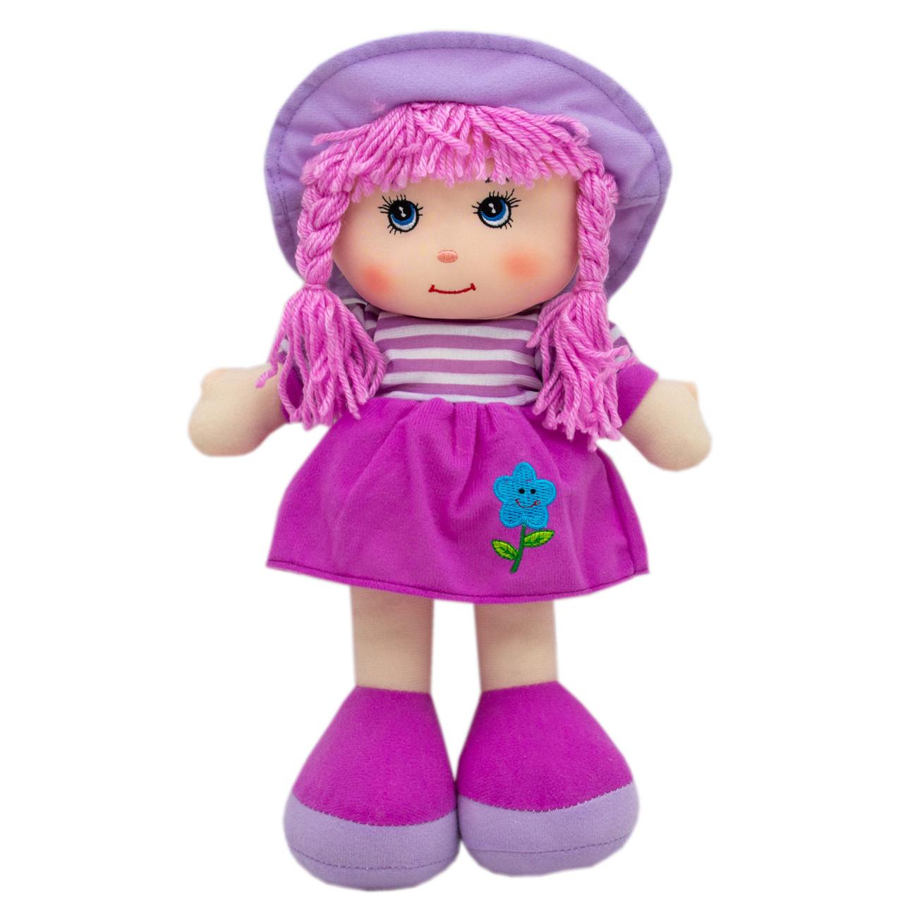 Кукла мягконабивная с вышитым лицом, 36 см, фиолетовая (53914-1)