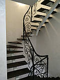 Легкі ковані перила для сходів. Класичні ковані перила з елементами модерну., фото 9
