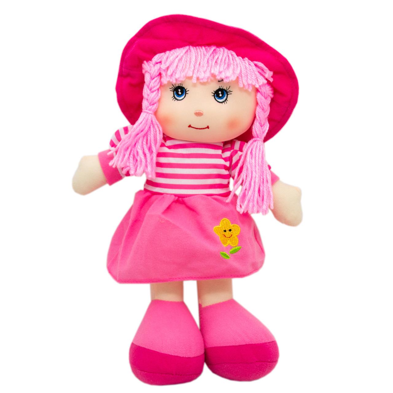 Кукла мягконабивная с вышитым лицом, 36 см, розовая (53914-2)