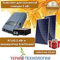 Комплект для автономной солнечной станции ATLAS 5 кВт и Canadian Solar 280 Вт