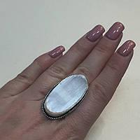Красивое овальное кольцо селенит в серебре размер 17,3. Кольцо с селенитом Индия!