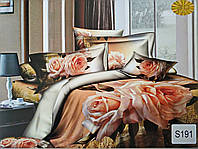 Комплект постельного белья ELWAY (Польша) 3D LUX Сатин Евро Подарочная упаковка (191)