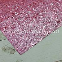 Экокожа, крупные блестки. Цвет Розовый. Размер 19*30