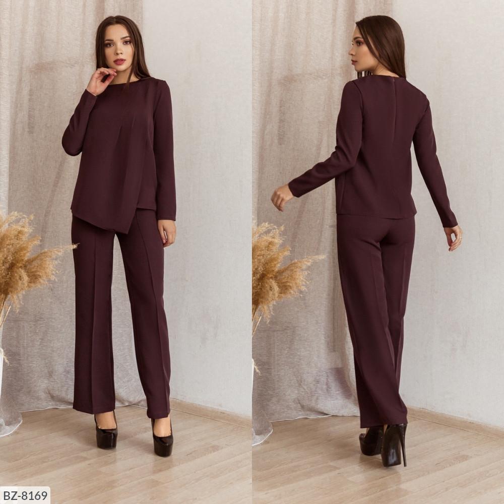 Стильный костюм с прямыми брюками, №156, шоколад, 44-46 р.