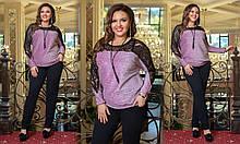 Женский роскошный праздничный брючный костюм с кофтой из люрекса, размеры 48-58