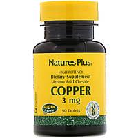 Медь (Copper), Nature's Plus, 3 мг, 90 таблеток