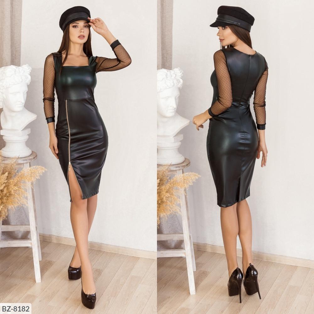 Приталене плаття з екошкіри, №160, чорне, 42-46р.