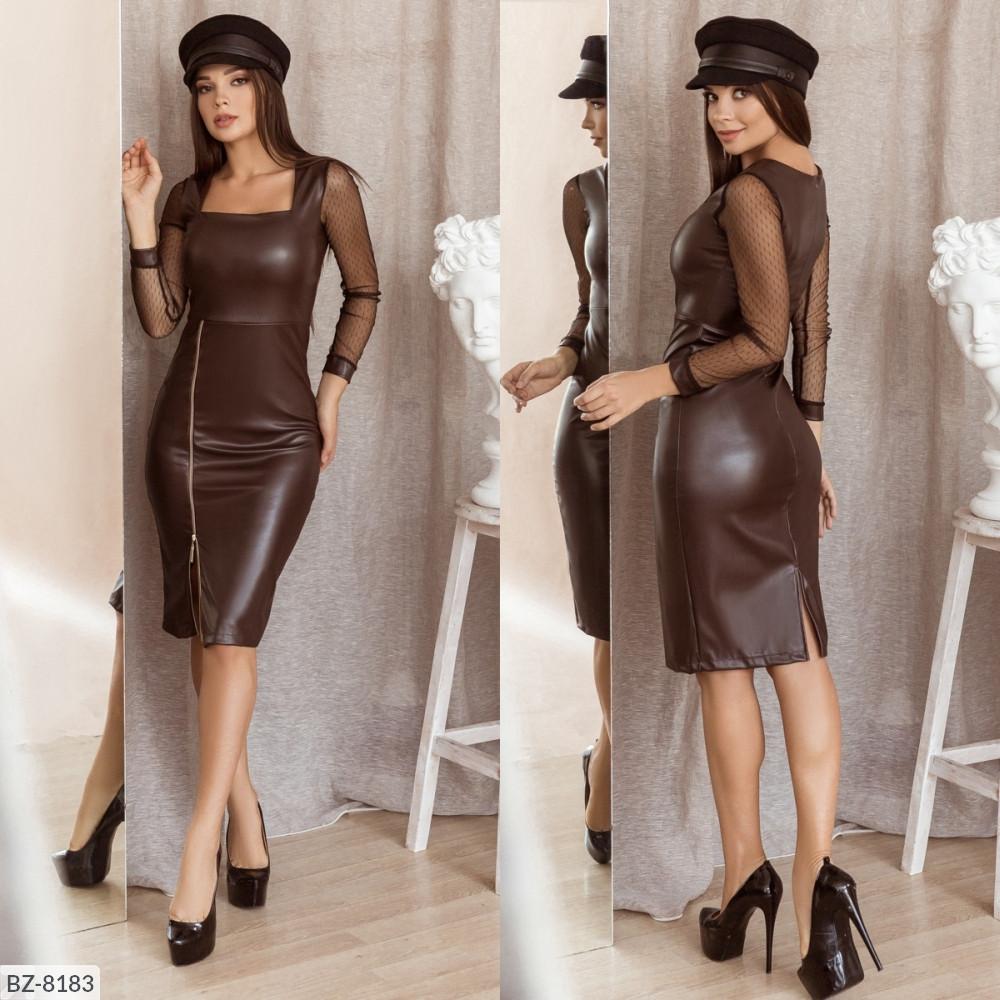 Платье приталённое из экокожи, №160, шоколад, 42-46 р.