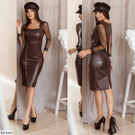 Платье приталённое из экокожи, №160, шоколад, 42-46 р., фото 2