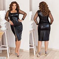 Платье приталённое из экокожи, №160, чёрное, 48-58 р.
