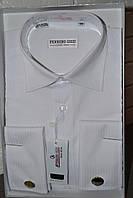 Белая в полоску классическая мужская рубашка под запонку  FERRERO GIZZI (размер 38,39)