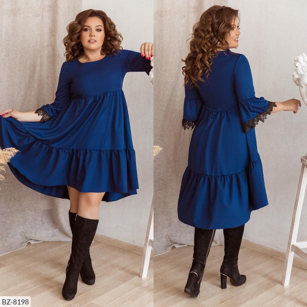 Платье свободного кроя с ассиметрическим низом и ажуром на рукавах, №162, иниго, 48-58 р.