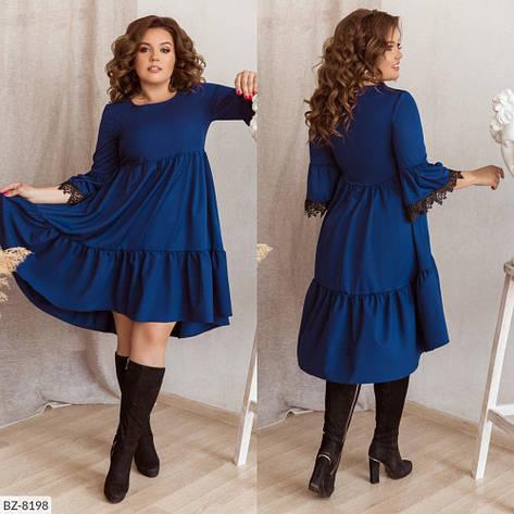 Платье свободного кроя с ассиметрическим низом и ажуром на рукавах, №162, иниго, 48-58 р., фото 2