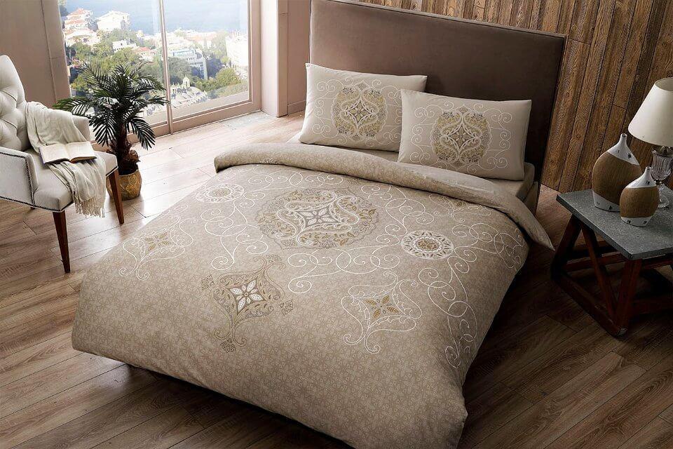 Двуспальное евро постельное белье TAC Sianna Brown Ранфорс