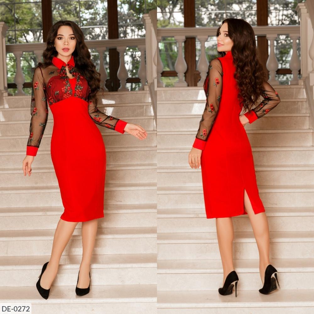 Приталенное платье с цветочной аппликацией, красный, №179, 42-46 р.