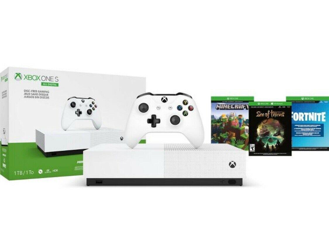 Microsoft Xbox ONE  S 1TB All-Digital edition+Minecraft+Sea of The Theaves+Fortnite