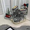 """Сапоги луноходы женские """"California"""" серебро эко лак+ сахарная блестящая крошка //, фото 9"""