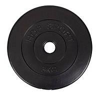 Блин для штанги или гантелей 5 кг битумный (млинець диск бітумний на штангу гантелі)