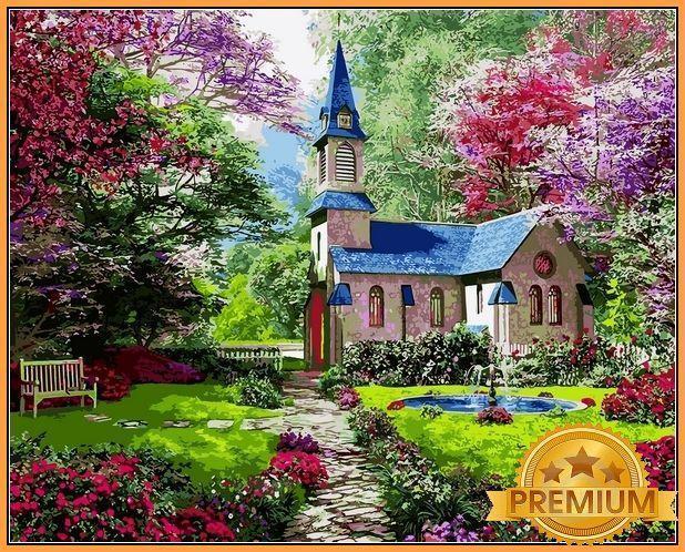 Картина по номерам 40×50 см Babylon Premium (цветной холст + лак) Цветущий сад  Художник Доминик Дэвисон (NB 1153)
