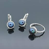 Серебряное кольцо и серьги с жемчугом Дама
