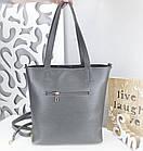 Женская сумка серого цвета, натуральный замш+эко кожа (под бренд), фото 2