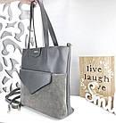Женская сумка серого цвета, натуральный замш+эко кожа (под бренд), фото 3