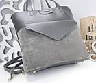 Женская сумка серого цвета, натуральный замш+эко кожа (под бренд), фото 5