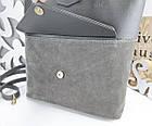 Женская сумка серого цвета, натуральный замш+эко кожа (под бренд), фото 6