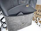 Женская сумка серого цвета, натуральный замш+эко кожа (под бренд), фото 7