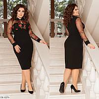 Приталенное платье с цветочной аппликацией, чёрный, №179, 48-58 р.