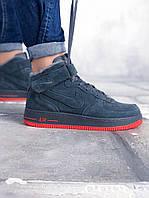 """Мужские зимние кроссовки Nike Air Force Winter """"Grey/Red"""" (в стиле Найк) серые натуральный замш мех"""