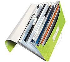 Папка пластиковая с 6-ю отделениями Leitz WOW на 200 листов зелёная