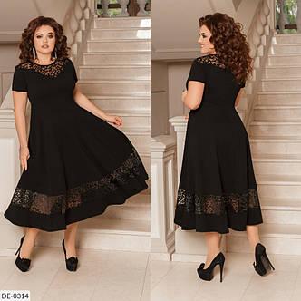 Нарядное платье с кружевами французской длинны, №186, чёрное, 48-58 р., фото 2
