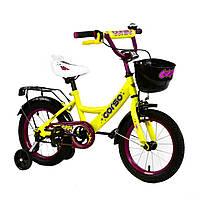Велосипед детский 2-х двухколесный 14 дюймов с дополнительными колесами CORSO желтый для детей от 4 до 6 лет